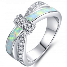 Wholesale Opal Bridal Set - 925 silver fashion simple women's jewelry fire opal ring diamond wedding bridal cross ring jewelry gift