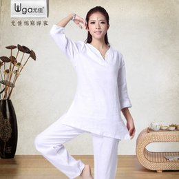 Wholesale Womens Dance Suits - Wholesale-2016 New Yoga Clothes Womens 2pcs set Suit Yoga Clothing Meditation Linen White Modal Sports Dance Set Plus Size