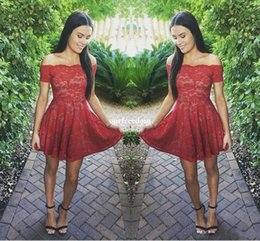 Wholesale Short Modest Homecoming Dress - 2018 New Short Red Lace Homecoming Dresses Modest Off Shoulder Short Sleeves Full Lace Junior Sweet 16 Graduation Dresses Cocktail Gowns