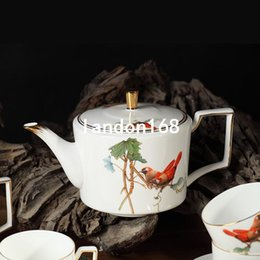 Wholesale Teapot Service - High-grade Bone China Coffee Cups set Ceramic Teapot Cups Saucers Service for 6 People Creative Gift