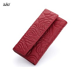 Wholesale New Flower Purse - New Brand Design Fashion Genuine Leather Wallet Women Purse Female Clutch Wallets Ladies Cowhide Flowers Long Carteira Feminina