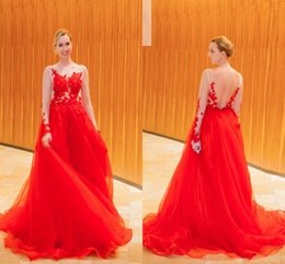 Wholesale Christmas Maternity Dress - Red Long Sleeves Evening Gowns Sheer Neck Illusion Lace Appliques Tulle Red Backless Prom Dress Sweep Train Christmas Formal Party Dress