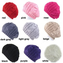 Wholesale white beret cap - New Lady Winter Warm Knitted Crochet Slouch Baggy Beret Beanie Hat Cap 10 color free shipping