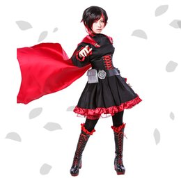 Wholesale Rwby Ruby Rose Costume - Wholesale-Ruby Rose Cosplay RWBY Red Dress Cloak Battle Uniform Hollowen Karneval Party Supply Costume