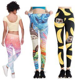 Wholesale Casual Yoga Clothes - 2017 New 3D Printing High quality Women Clothes Slim Pants Women Leggings Fitness Trousers Sexy Push Up Sport Yoga Leggins LX3524