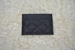Wholesale Plaid Wallets - famous brand Genuine lambskin   caviar Leather wallets Women classic Luxury lattice 11.5*8CM card holders 31510