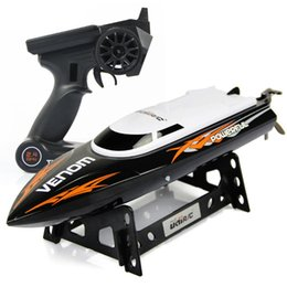 Wholesale Rc Boat Channel - UDI Mini RC Speedboat Tempo Power Venom 2.4G Remote Control Boat with Auto Rectifying Deviation Direction Function