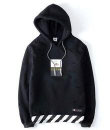 Wholesale Sport Suit Brand Man - Hooded Hole Twill Hoodies Men Hip Hop Swag Streetwear Off White Men Hoodie Famous Brand Men Sport Suit Sweatshirts