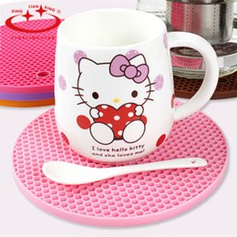 Wholesale pink room mats - Wholesale- New Silicone Fruits Coaster Novelty Cup Cushion Holder Home Dining Room Decor Drink Placement Mat