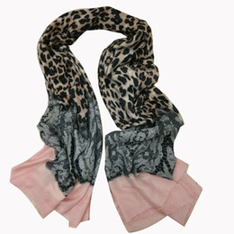 Wholesale Leopard Print Silk Chiffon Scarf - 2016 Hot selling winter fall animal leopard lace printing women border scarf soft wraps 10pcs lot size 90x180cm