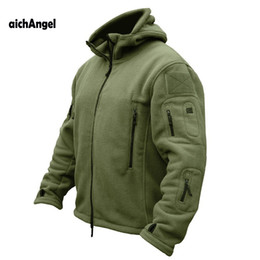 Wholesale Polar Fleece Jackets - aichAngeI US Military Man Fleece Tactical Jacket Thermal Breathable Polar Hooded Coat Casual Outerwear Army Clothes