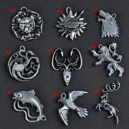 Wholesale Pack Women Game - Game of Thrones House House Stark Lannister Targaryen Baratheon Wolf Dragon Keychain Key rings fashion Jewelry Retail Packing 170879