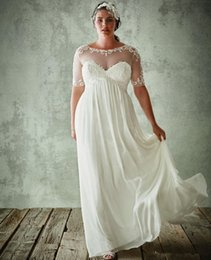 Wholesale Designer White Ivory Chiffon Beach - Plus Size Beach Wedding Dresses with Sleeves Maternity Chiffon Lace Bridal Gowns 2016 Summer Sexy Cheap Modest Designer Garden Maternity