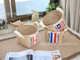 Wholesale Wire Basket Wholesale - 35pcs hot sales Zakka style storage box jute with cotton lining sundries basket mini desktop storage bag hanging 1pcs free shipping