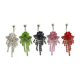 Wholesale Belly Button Chains - D0338 body piercing jewelry Belly Button Navel Rings Body Piercing Jewelry Dangle Accessories Fashion Charm Claw Chain Flower