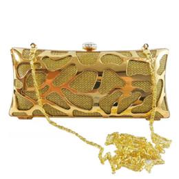 Wholesale Multicolor Evening Bags - Multicolor Designed Hollow Out Metallic Evening Bag Rhinestone Press Clasp Cutout Box Clutch Party Handbag Women Hard Messenger Purse - 6020