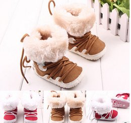 Wholesale Snow Rubber Shoes Sole - Newborn Baby boys girls boots Soft Fur lace-up Shoes Infant Toddler kids soft Soled Boots babies warm Christmas snow boots Kids shoes 6144