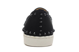 Wholesale Denim Pumps - Luxury Brand Red Bottom Sneakers Suede with Spikes Casual Mens Womens Shoes Black Suede Black Spikes Two Ring Low Foot Shoes Pumps