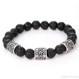 Wholesale Charm Brace - Men's Women's New Fashion Diffuser Jewelry Natural Lava Stone Prayer Beads Charms Bracelets Anti-fatigue Volcanic Rock Charm Brace