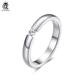 Wholesale High Quality Wedding Gift - ORSA 2017 Trendy AAA Quality Austrian Zircon Engagement Rings High Polished Titanium Steel Wedding Rings OTR48