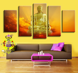 Wholesale Printed Curtain Panels - 2016 Painting Canvas Wholesale Prices 100% 5 Curtain Wall Art Religious Figure of for Buddha On The Canvas Painting Pictures No Framework