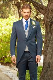 Tailcoat dello sposo dello smoking del taillework gessato blu I migliori abiti da sposo dello sposo di nozze degli uomini economici (giacca + pantaloni) vestito di promenade da