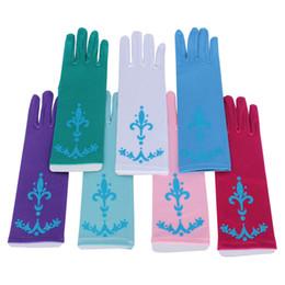 Lange blaue handschuhe online-Schnee-Königin-Finger-lange Handschuhe Prinzessin Coronation Blue Girls Schneewittchen-Abendkleid-Handschuhe Cosplay Kostüm 7 Farben HH-G15