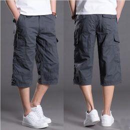 Wholesale Army Breeches - Men's Baggy Multi Pocket Military Zipper Cargo Capris Hot Breeches Male Quarter Army Green Khaki Men Tactical Shorts Plus Size KB