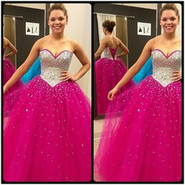 Wholesale Vestidos Color Melon - Sparkly Fuchsia Quinceanera Dresses Ball Gowns Crystal Beaded Sweetheart Tulle Sweet 16 Debutante Dress Vestidos De 15 Anos