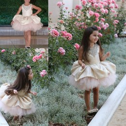 Wholesale Pink Mini Dresses For Party - Girls Pageant Dresses For Toddlers Tulle And Lace Kids Girl Birthday Party Christmas Communion Dresses Beads Puffy Flower Girl Dress