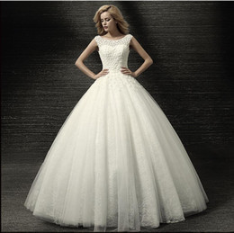Wholesale Newest Luxury Flowers Dress - Luxury Newest Design Scoop Beautiful Wedding Dress Lace Flower Applique Corset Tulle Skirt Bridal Gowns