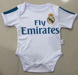 Wholesale Baby Boys White Shirt - 2017 2018 New Real Madrid Baby soccer Jersey Cotton Short Sleeved Jumpsuit Baby Triangle Climb Clothes Loveclily 17 18 baby's fans shirt