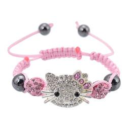 Wholesale Cute Kids Bracelets - Wholesale-Handmade Cute Children Cat Hello Kitty Bracelet for Kids Girls Boys Shamballa Beads Connected Braid Charm bracelet Jewelry