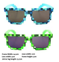 Pixel sonnenbrille online-Trendy Sommer-Art-nette Weinlese-Quadrat-Neuheit Mosaik Sun-Glas-Unisex Pixel Sonnenbrille Farbe Blau Grün GS-085