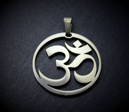 Wholesale Namaste Necklace - Om Ohm I'am I Am sign Symbol round charm necklace namaste Reiki