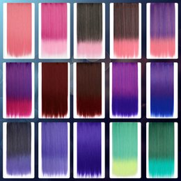 Wholesale Long One Piece Hair Extension - Wholesale-Landisun New One Piece Unisex Long Straight Hair Extension Clip-on Cosplay Wig 15 Colors Available