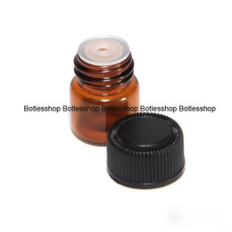 Wholesale Plastic Chemical Containers - Free Shipping Small Amber Essential Oil Bottle With Plastic Lid,1ml Glass Bottle, Mini Brown Glass Vials,Mini Glass Container