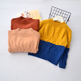 Wholesale Boys Yellow Sweater - Christmas Baby Boys Clothes 2017 Kids Boys Knit Panelled Pullover Boys Autumn Jumper Sweater Kids Winter Clothing