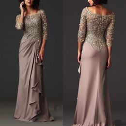 Wholesale Zuhair Murad Burgundy Chiffon Dress - Zuhair Murad Evening Dresses Long Sleeves 2016 Sheer Lace Mother of the Bride Groom Dress Formal Arabic Guest Gowns