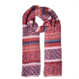 Wholesale Geometric Red Scarf Pattern - fashion women scarf simple light rendering winter warm scarves close to skin Regular geometric pattern SF864