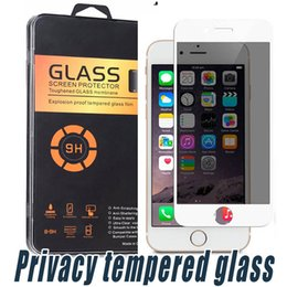 Wholesale Spy Glasses Package - For iPhone 6 7 Plus Carbon Fiber Tempered Glass Privacy Screen Protector Shield Film Anti-Spy Peeping Film with Retail Package