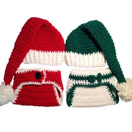 Wholesale Crocheted Boys Stocking Hat - Crochet Twins Baby Santa Outfit,Handmade Knit Baby Boy Girl Santa Stocking Hat Diaper Cover,Infant Christmas Costume,Newborn Photo Prop
