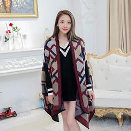 Wholesale Cashmere Lady Coat - Women's Winter Fashion Pashmina Cashmere Shawl Wraps Blanket Scarf Stole Poncho Capes Cloak Cardigans Oversized Coat Ladies Free Shipping