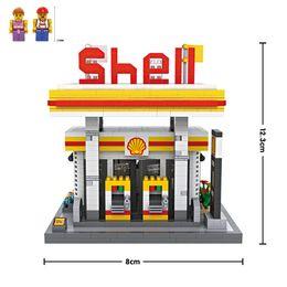Wholesale Gas Kid - Shell Gas Station LOZ Nanoblock Building Block Toy bricks assemble model DIY creative gift minifigure for kid