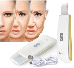 Wholesale Microdermabrasion Skin Scrubber - New Ultrasonic Ion Skin Scrubber Rechargeable Microdermabrasion Deep Cleaning High Frequency Vibration Face Peeling Massager Spa