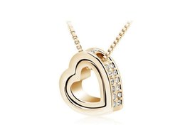 Wholesale Wholesale Honey For Sale - Eternal Honey Heart Necklace Jewelry Fashion Crystal Cheap Price From Factory Direct Sales Necklace For Women 10pcs Sales B117