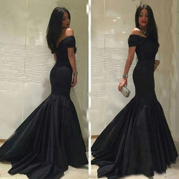 Wholesale Navy Blue Evening Wear - Classic Black Dresses Mermaid Sexy Off Shoulder Short Sleeves Long Evening Dresses Special Occasion Party Wear Custom Arabic Custom