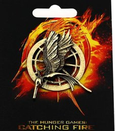 Wholesale Men Jewelry Packaging - Authentic Prop Brooches Imitation Jewelry Katniss Movie The Hunger Games Inspired MOCKINGJAY Arrow Bird PIN with Package For Women Men Gift