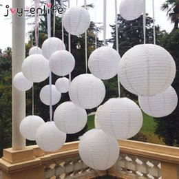 Wholesale White 12 Paper - 1pcs 6-8-10-12-14-16 Inch Round Chinese Lantern White Blue pink Paper Lanterns For Wedding Party Hen Party Birthday Decor decoration