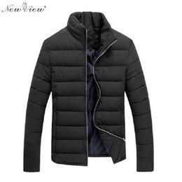 Wholesale Mens Down Clothing - Wholesale- 2017 Winter Jackets Mens Slim Casual Cotton Coat Men Stand Collar Parka Brand-Clothing Black Red Male Moleton Masculino